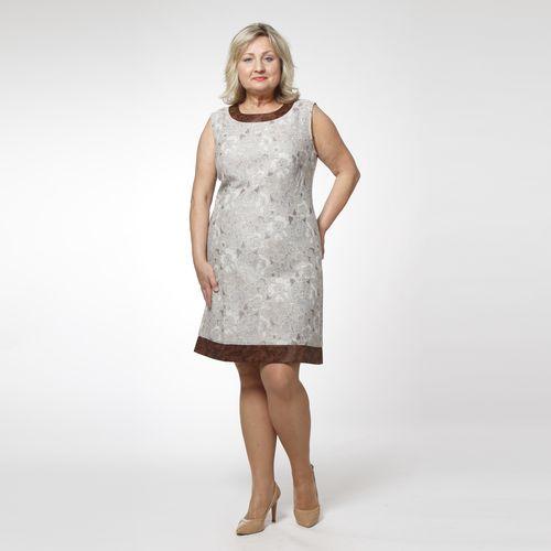 Платье льняное с отделкой под жаккард