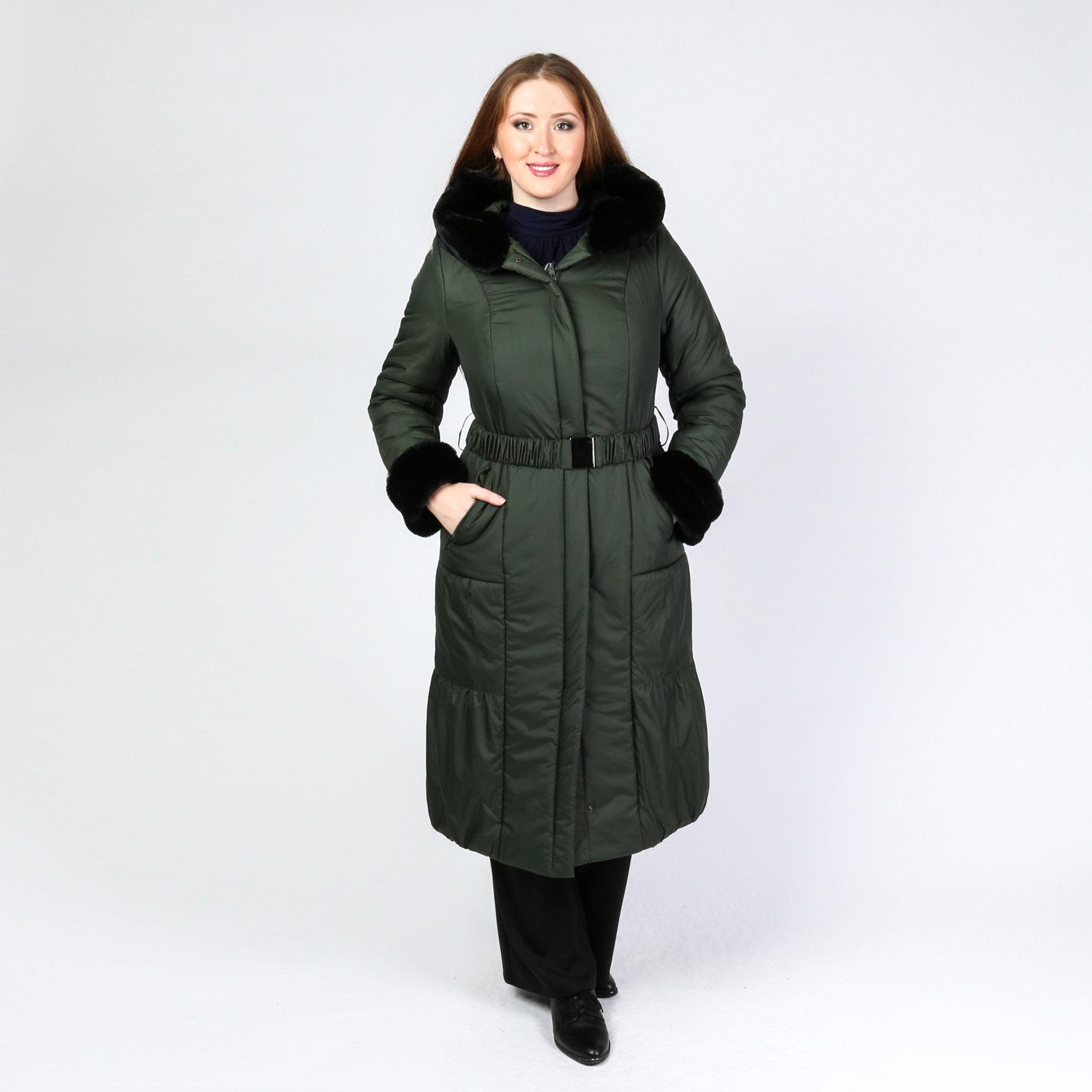 Пальто с меховыми вставками и поясом