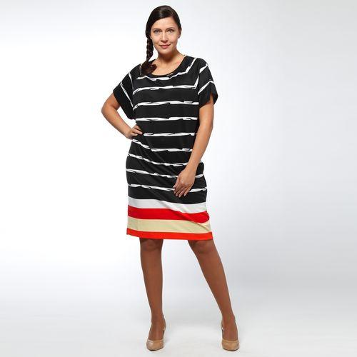 Платье-миди в полоску с коротким рукавом
