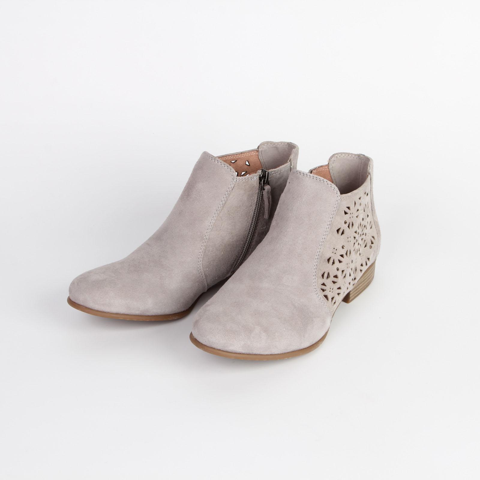 Ботинки женские из натуральной кожи с фигурной перфорацией