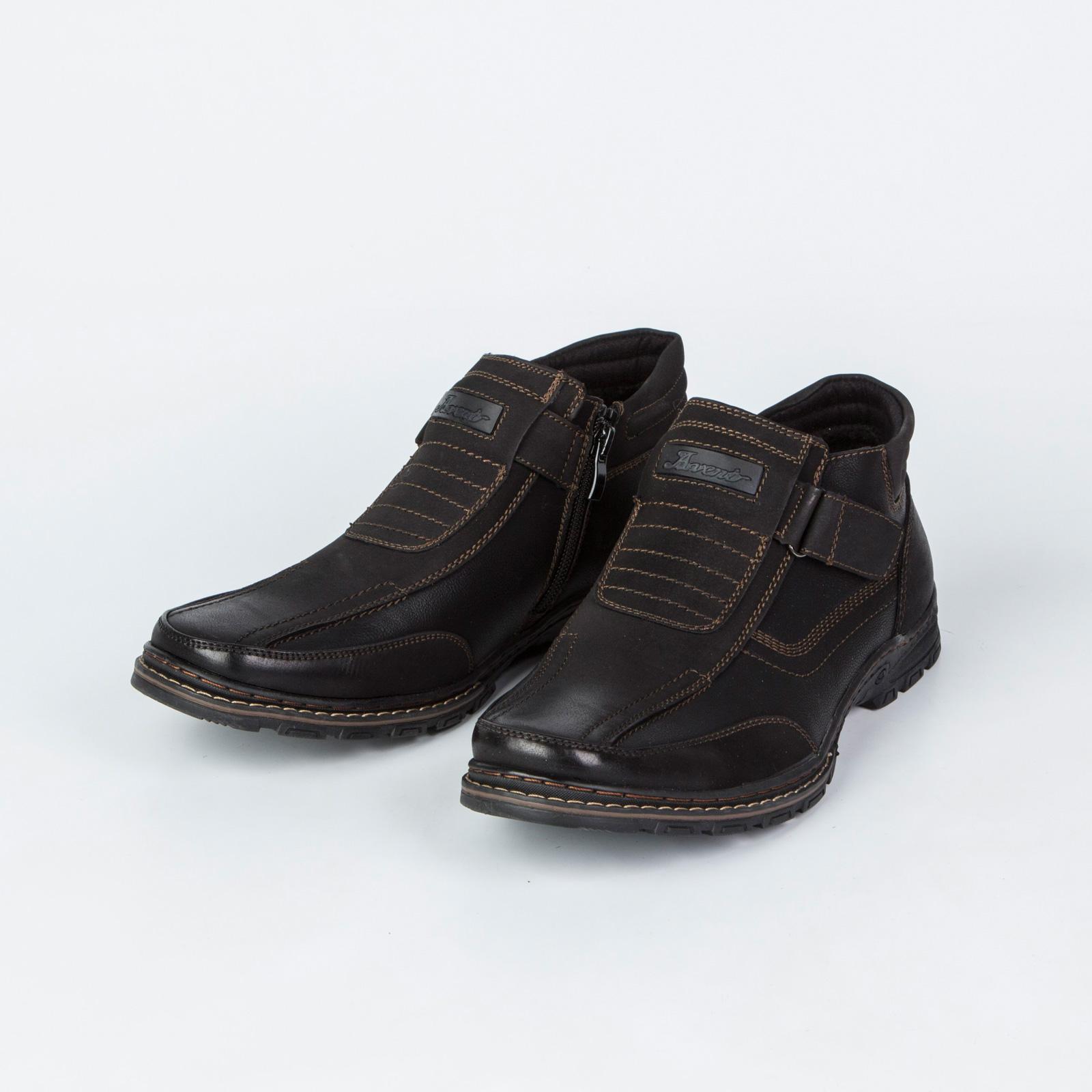 Мужские ботинки на липучке декорированные строчкой