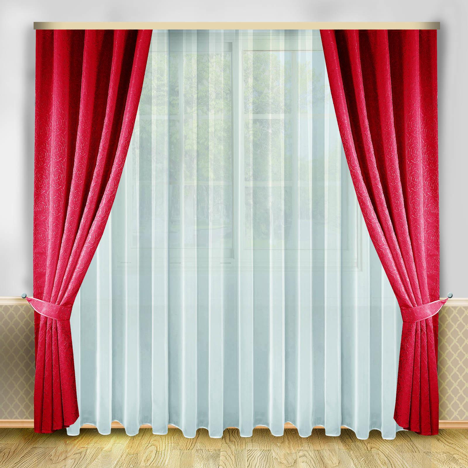 Комплект штор + тюль «Бордовая роза»