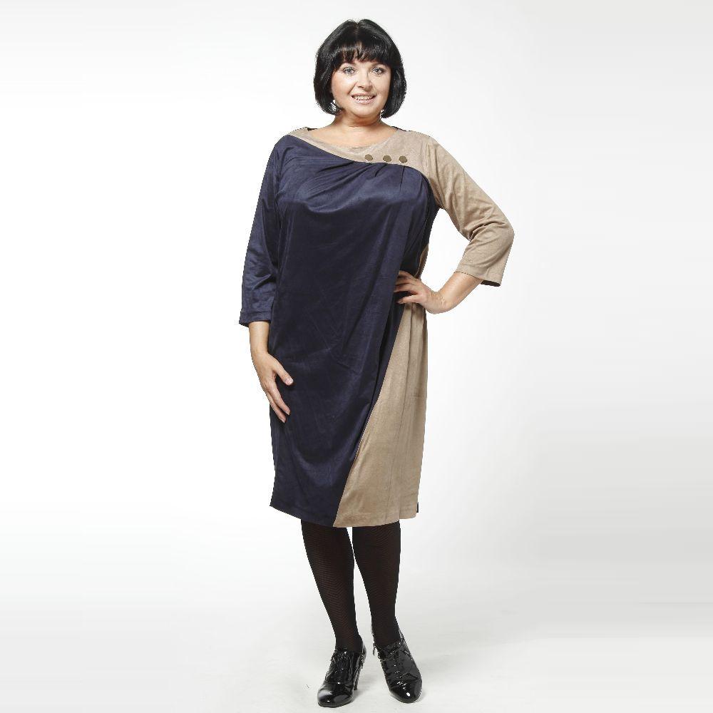 Платье из материала под замшу с декоративными пуговицами