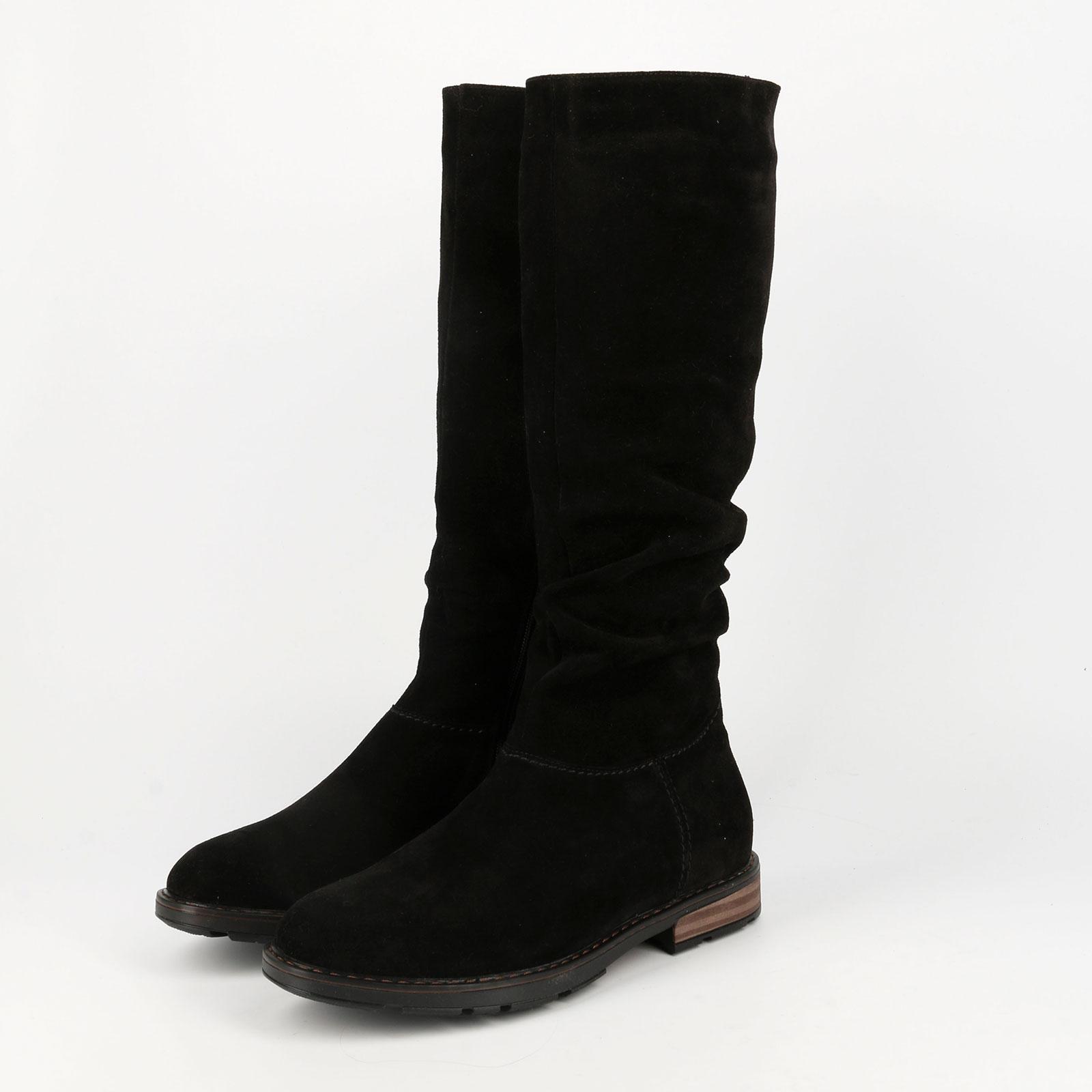 Сапоги женские велюровые на каблуке