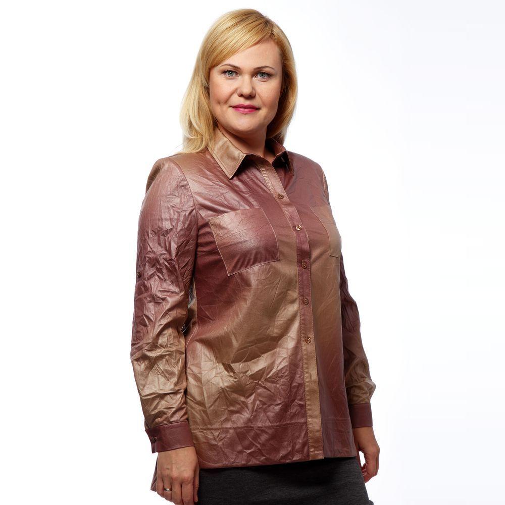 Блуза женская с отделкой под «кожу»