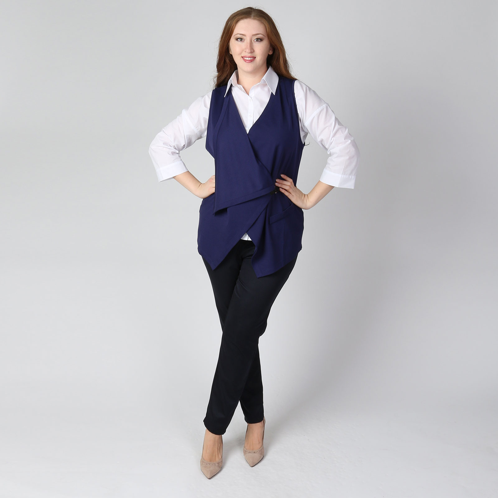 Комплект: блуза и асимметричный жилет