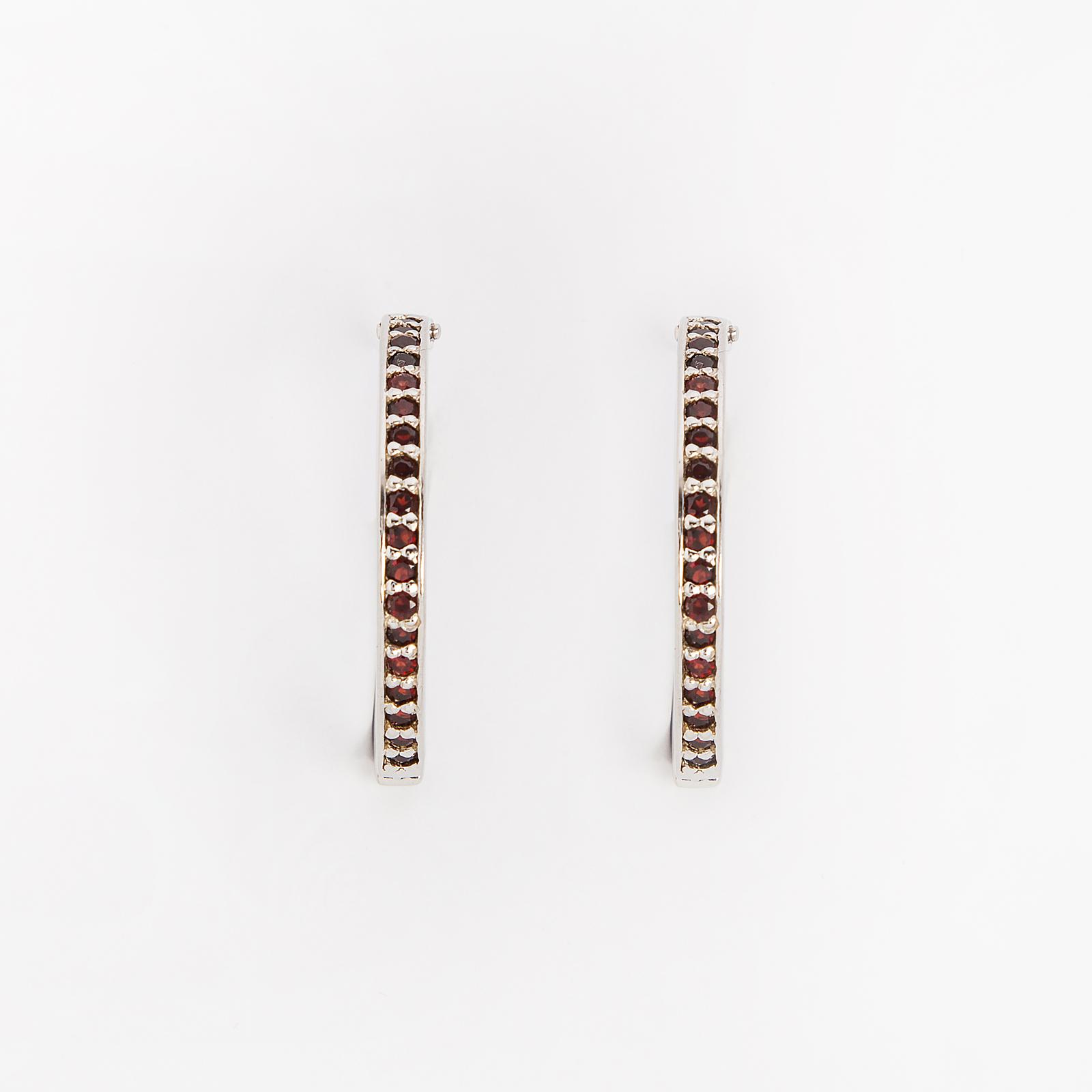 Серебряные серьги «Гранатовая карусель»