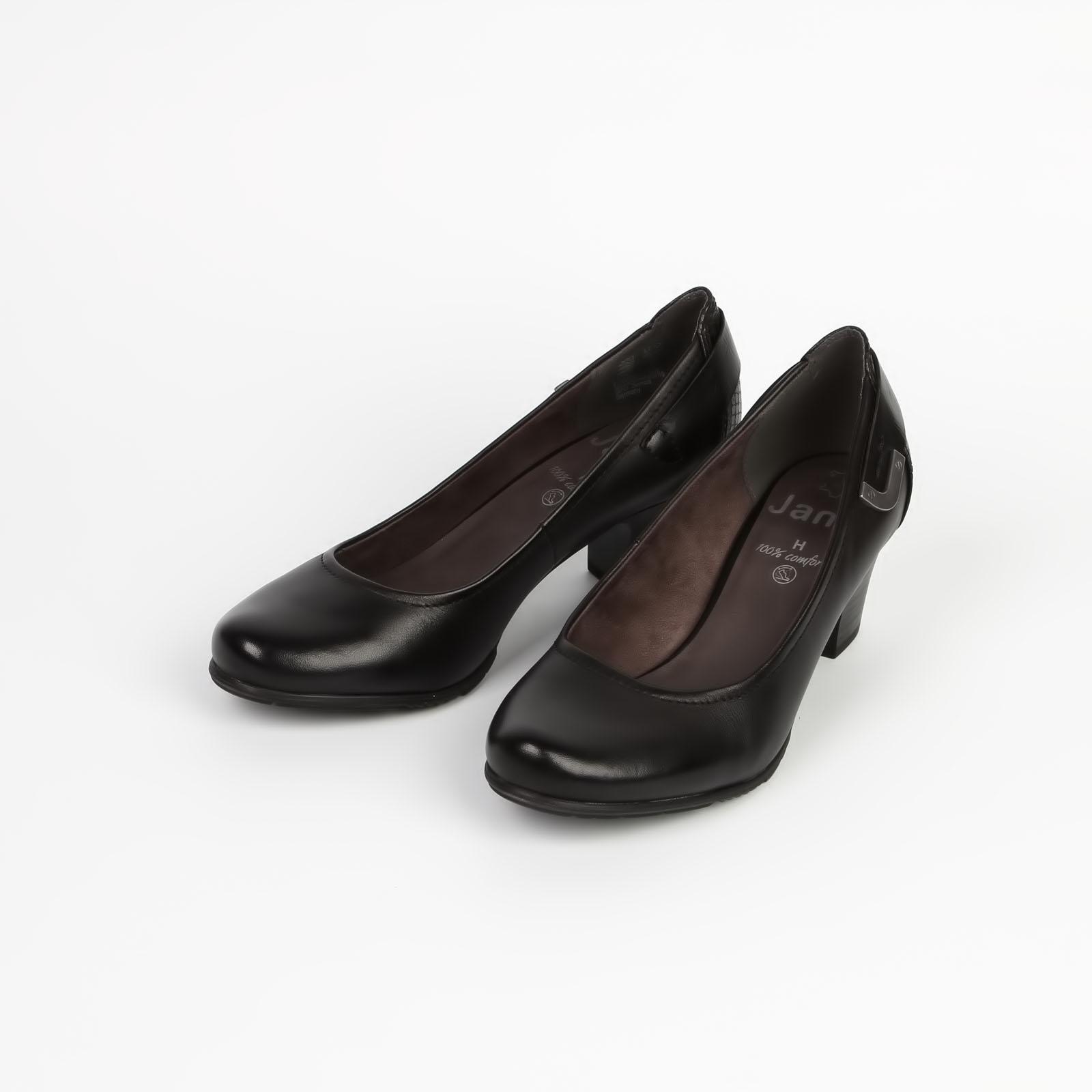 Лодочки женские классические из натуральной кожи на устойчивом каблуке