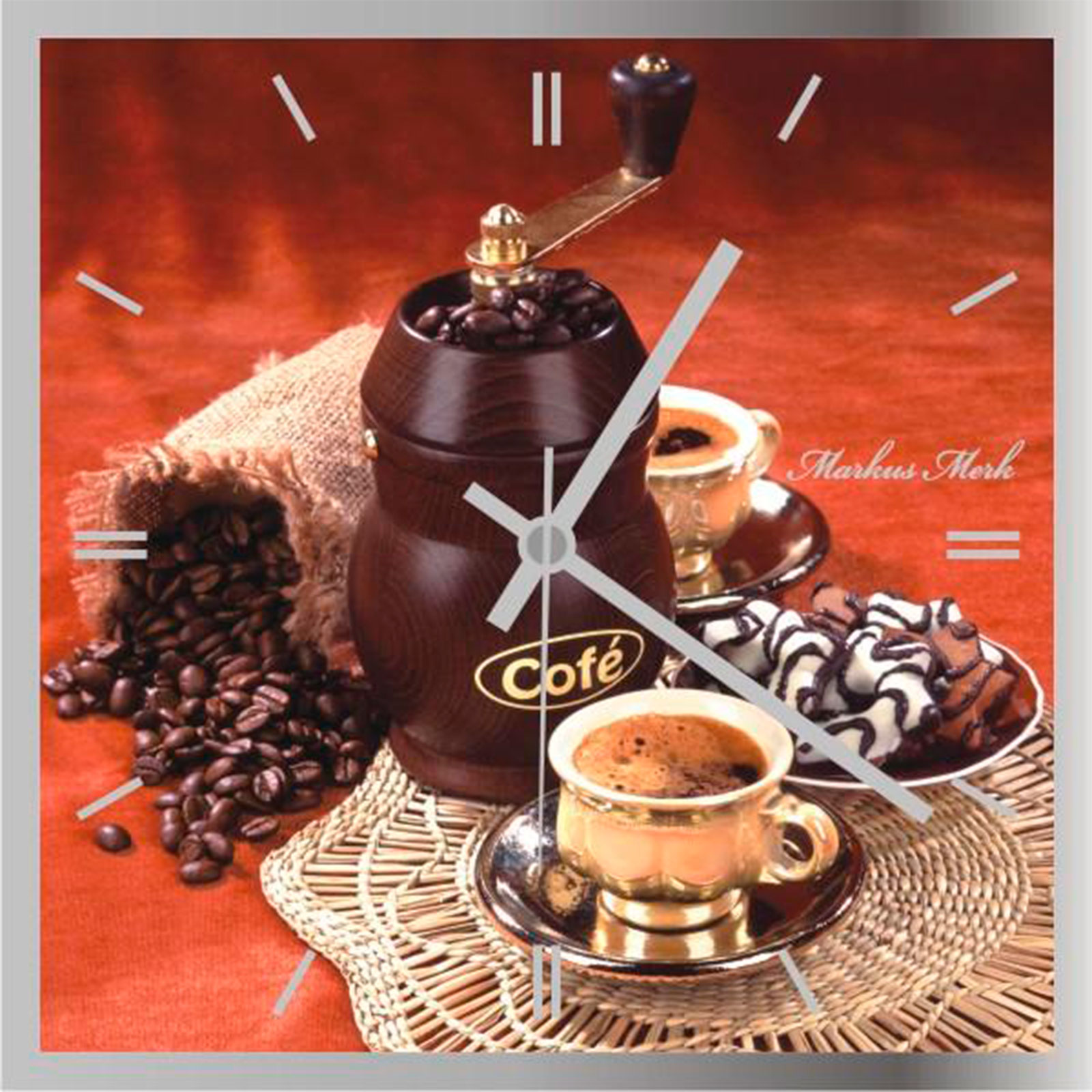 Часы зеркальные «Время кофе»