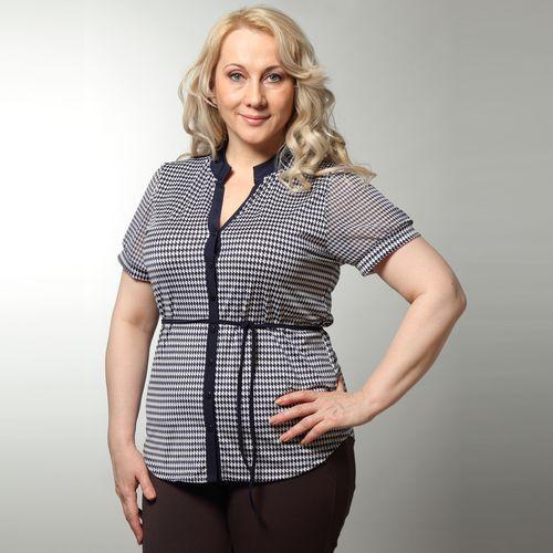 Блуза с коротким рукавом и принтом «гусиная лапка»
