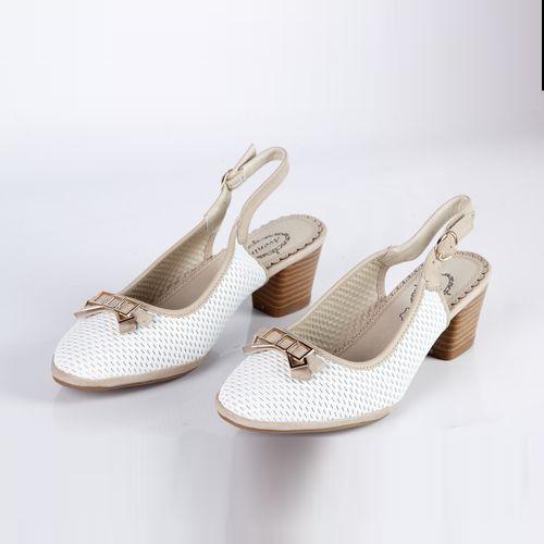 Туфли женские на устойчивом каблуке украшенные бантом