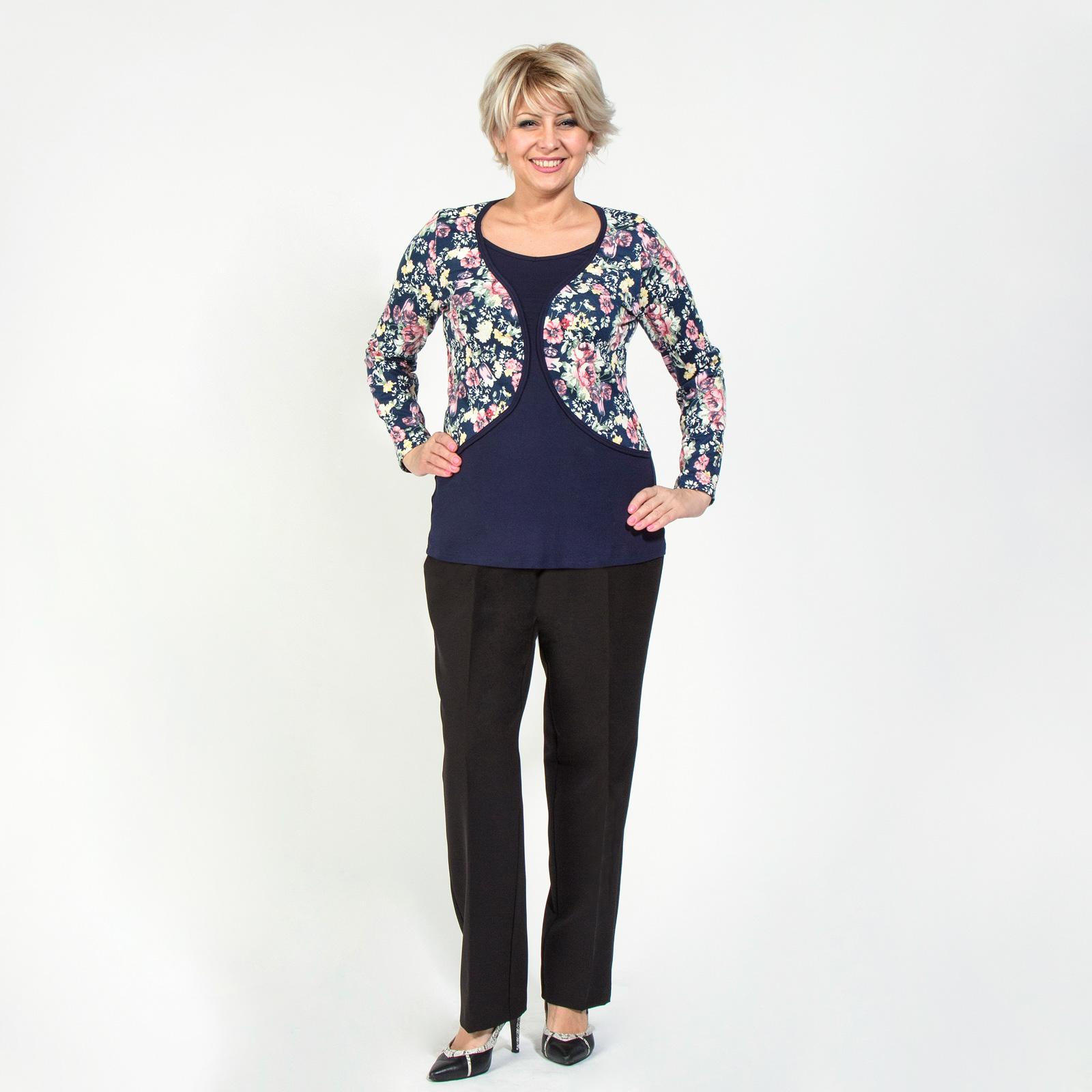 Блуза с длинным рукавом и комбинированным принтом