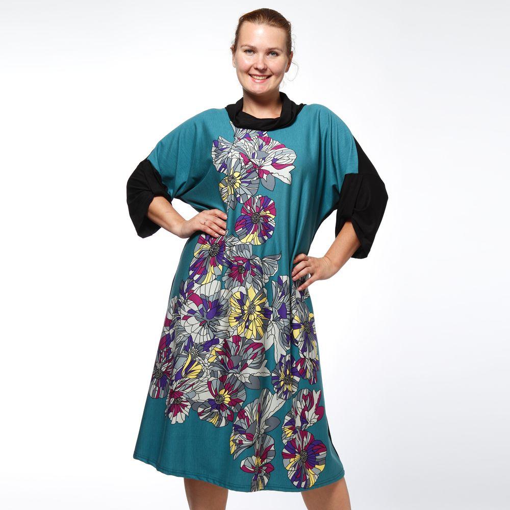 Платье свободного кроя с абстрактным принтом «Фиалка»