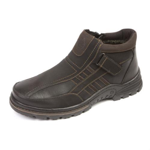 Мужские теплые ботинки с липучкой