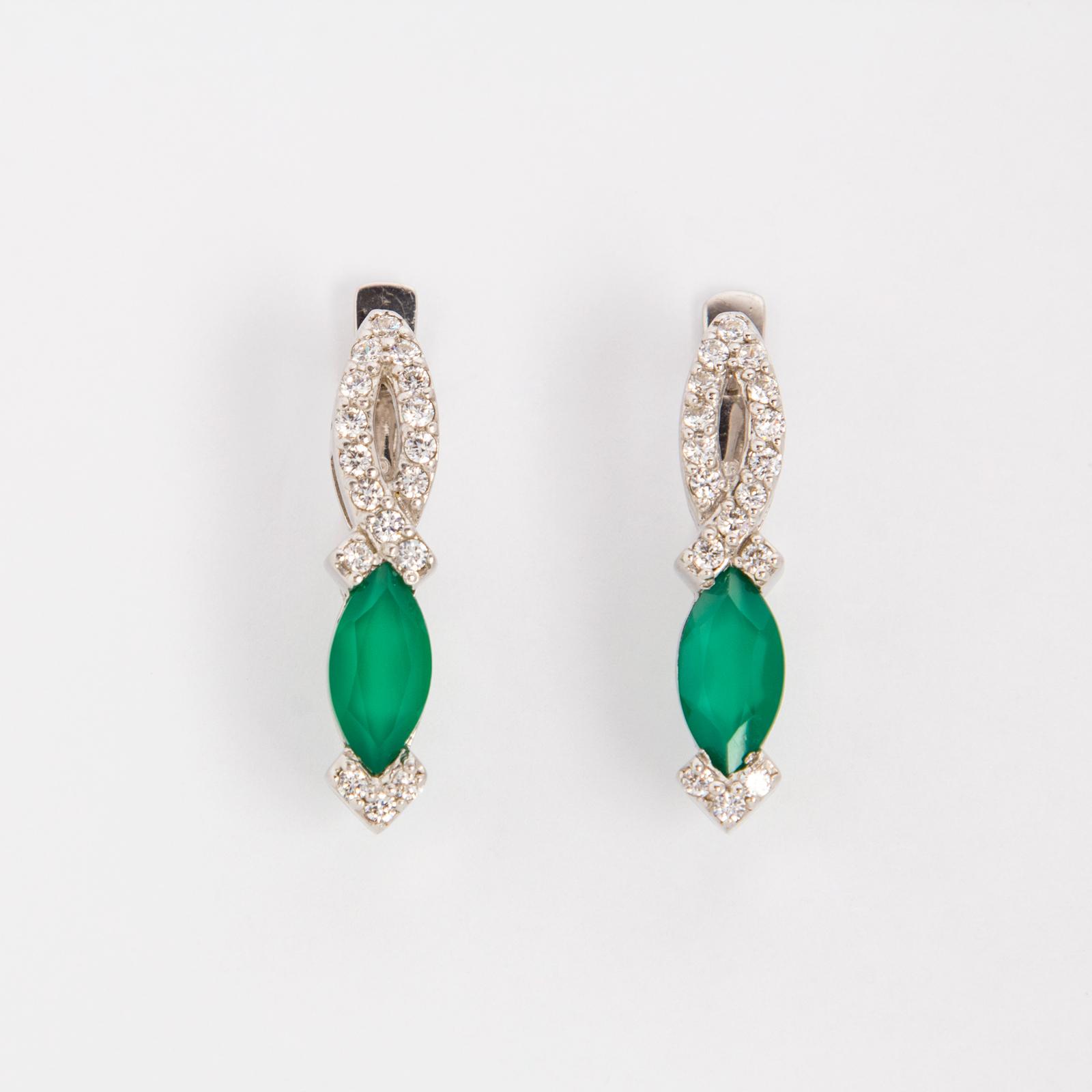 Серебряные серьги «Зеленый бант»