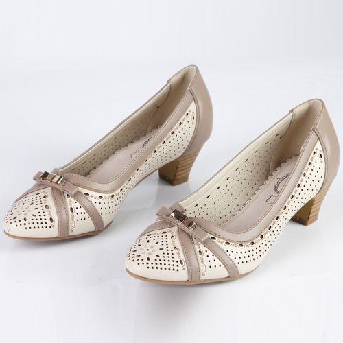 Туфли женские декорированные бантиком и элегантными вставками
