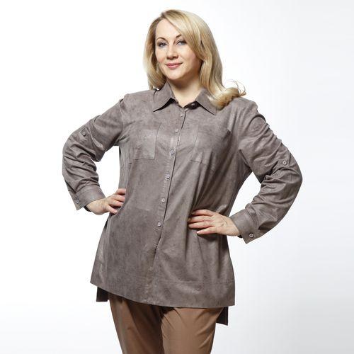 Рубашка из ультрамодного материала «под кожу» на пуговицах