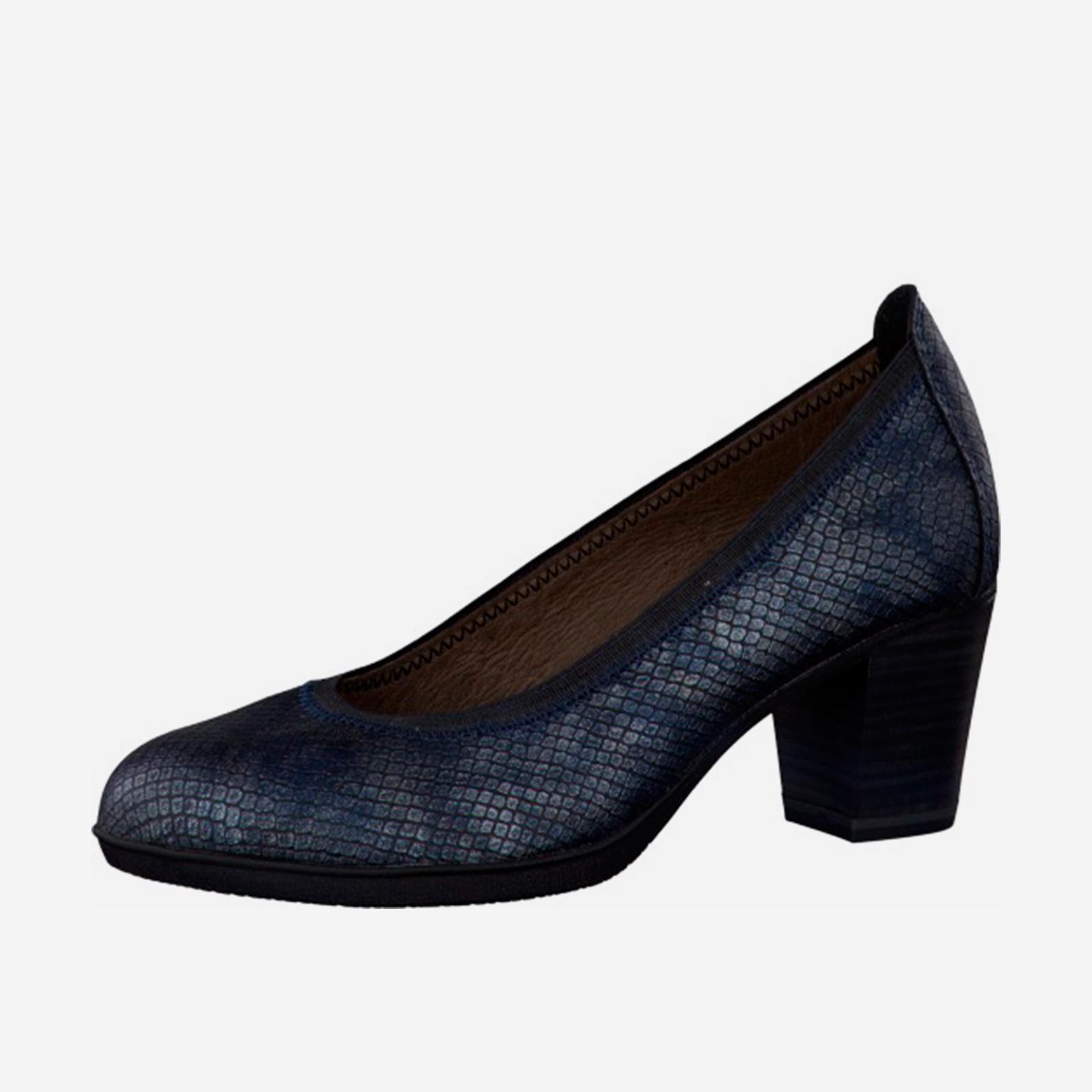 Туфли женские с тиснением под «рептилию» на среднем каблуке