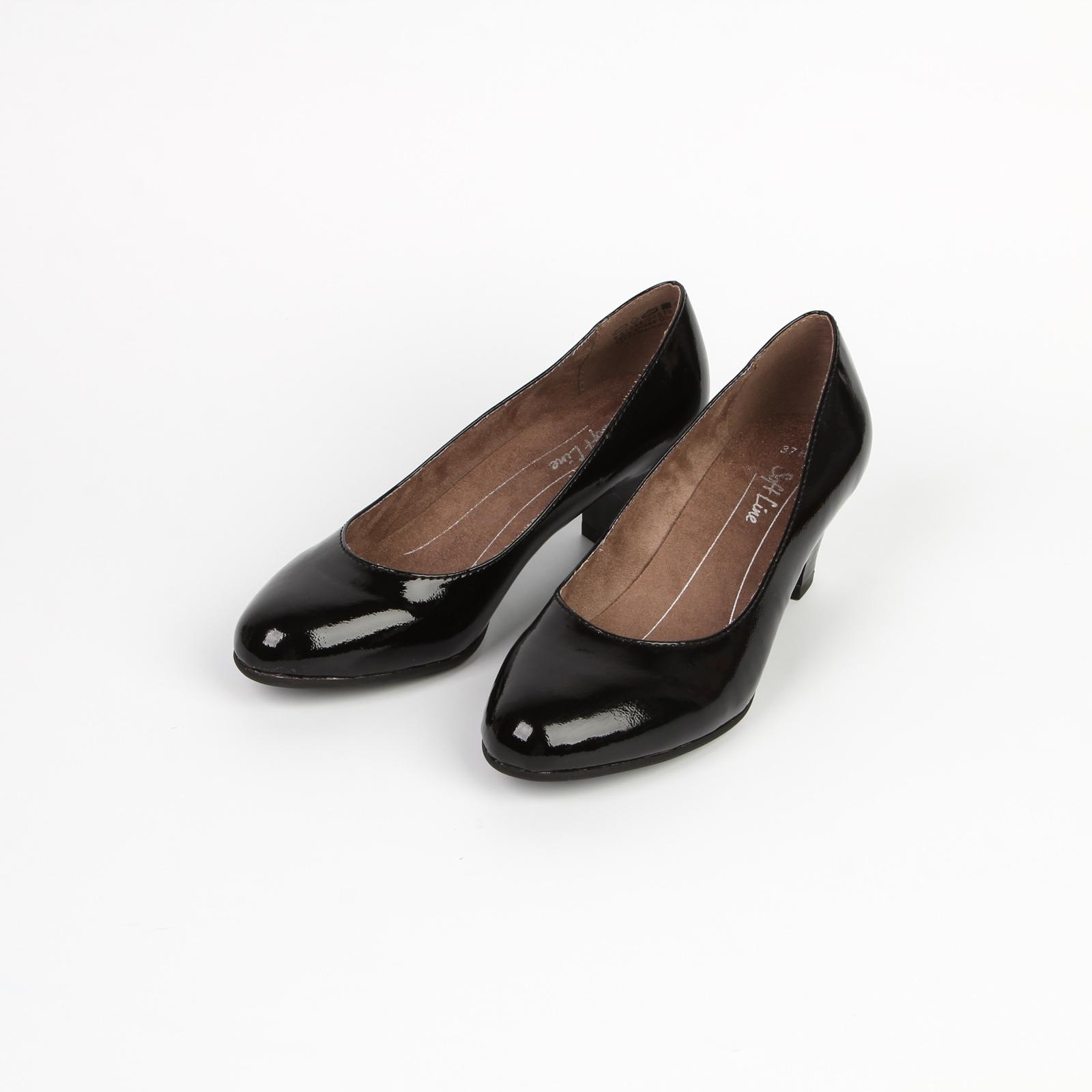 Лодочки лакированные на устойчивом каблуке