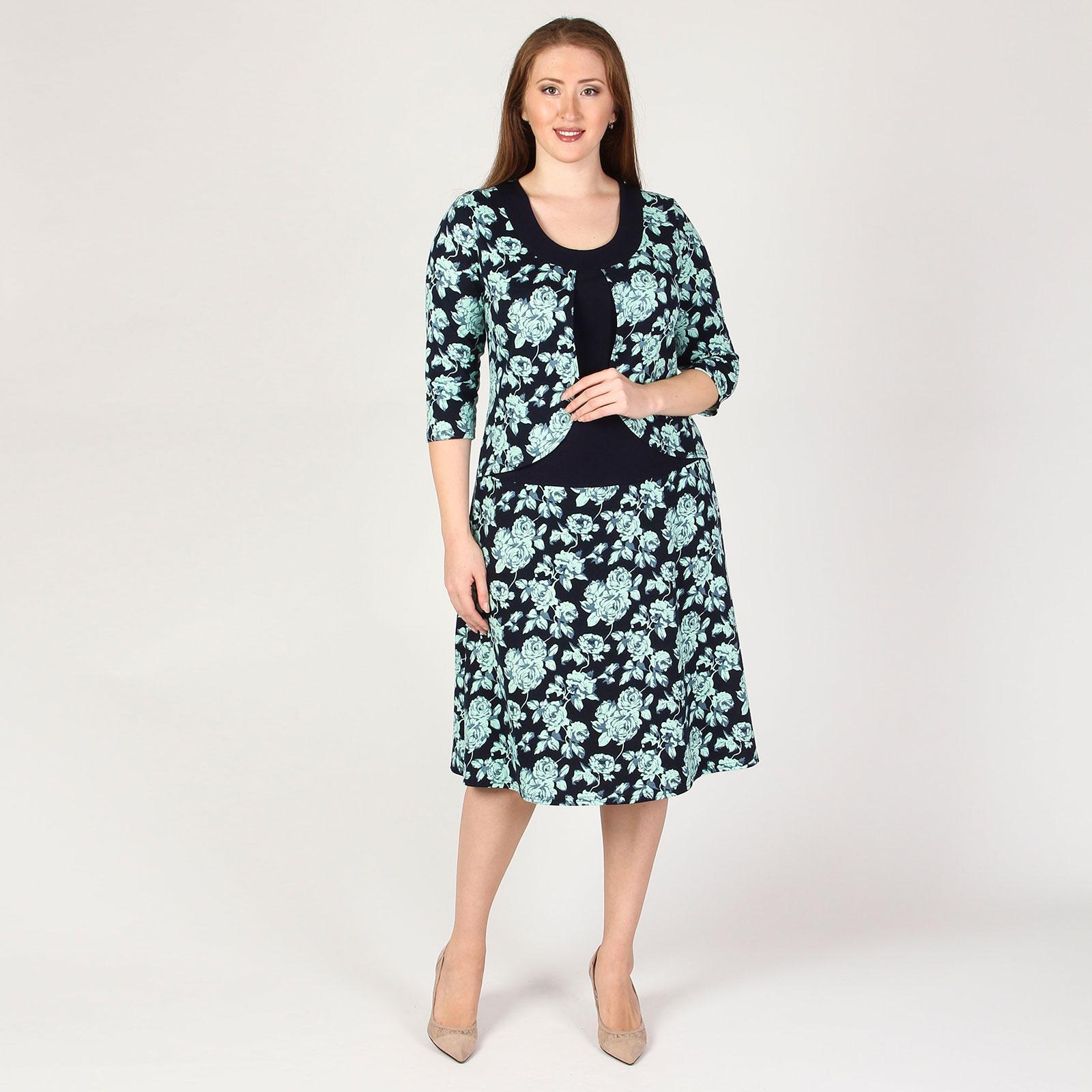 Платье с имитацией двойки и принтом «Розы»
