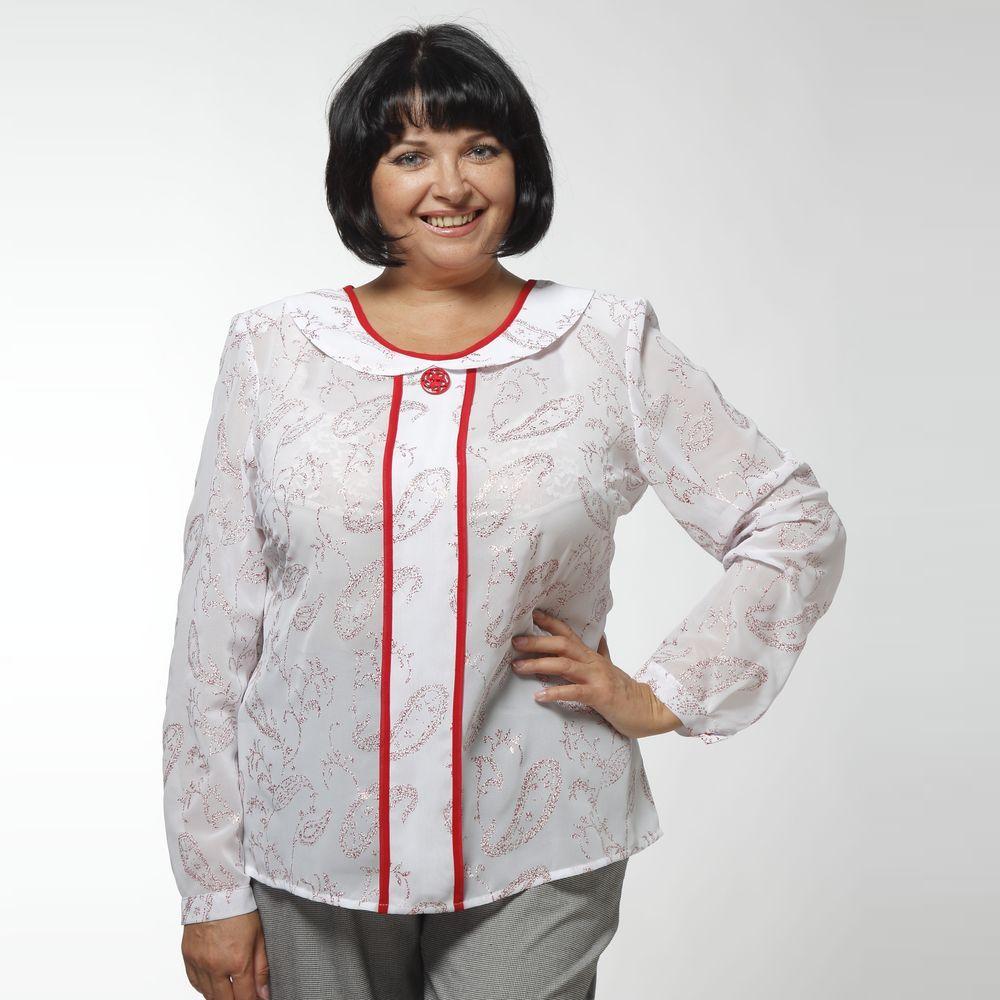 Блуза шифоновая с контрастным кантом