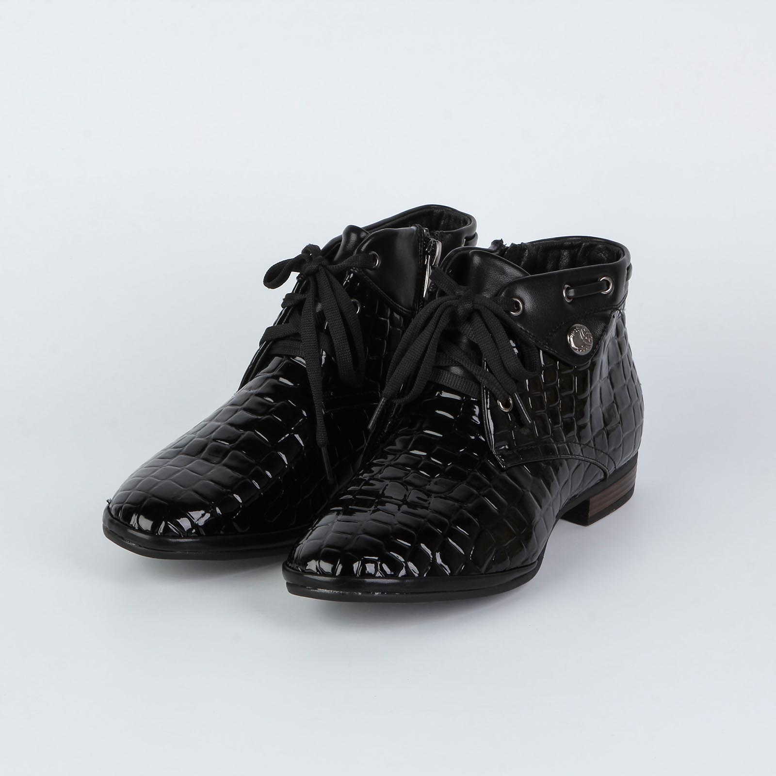 Ботинки женские лакированные под рептилию
