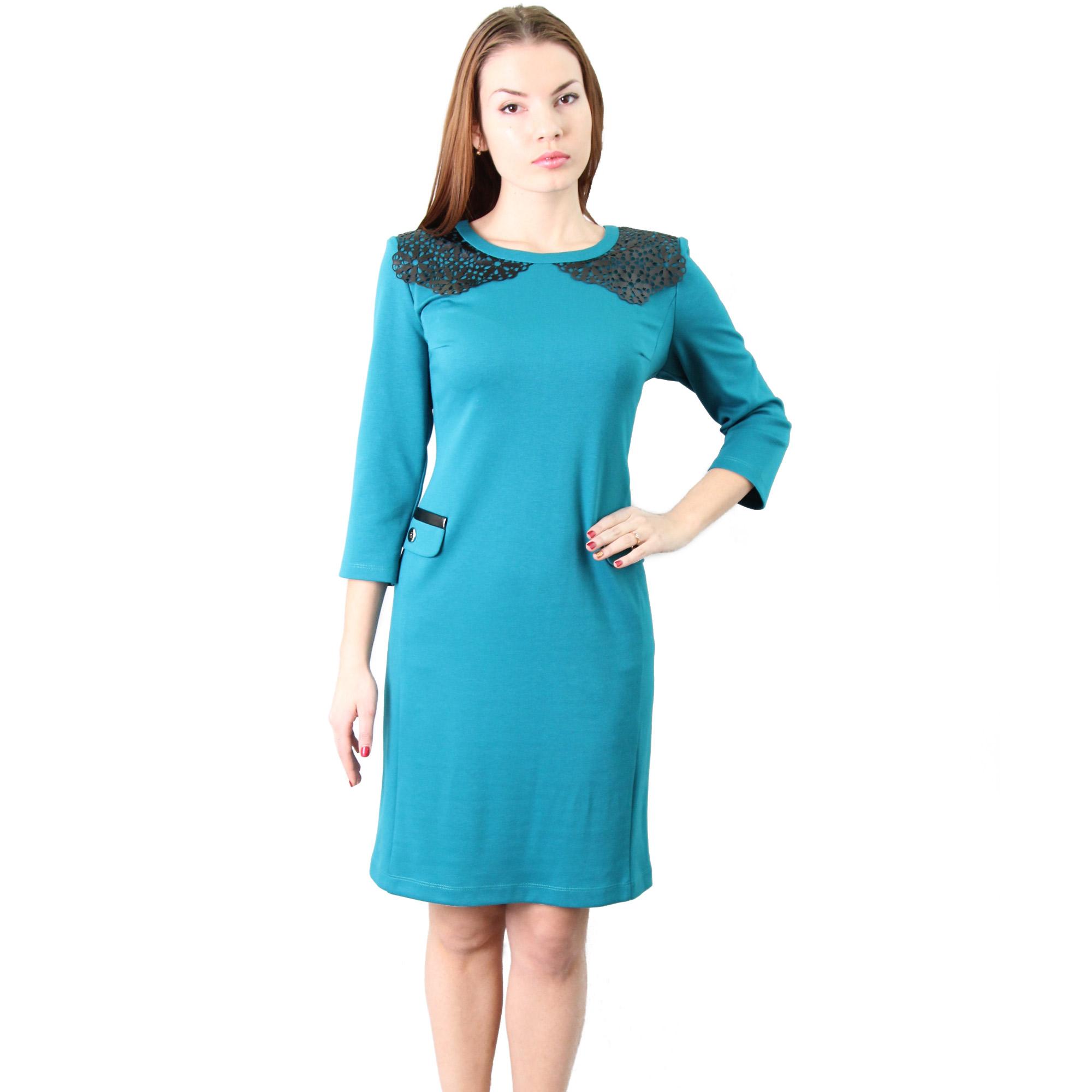 Трикотажное платье с кружевным воротничком из экокожи