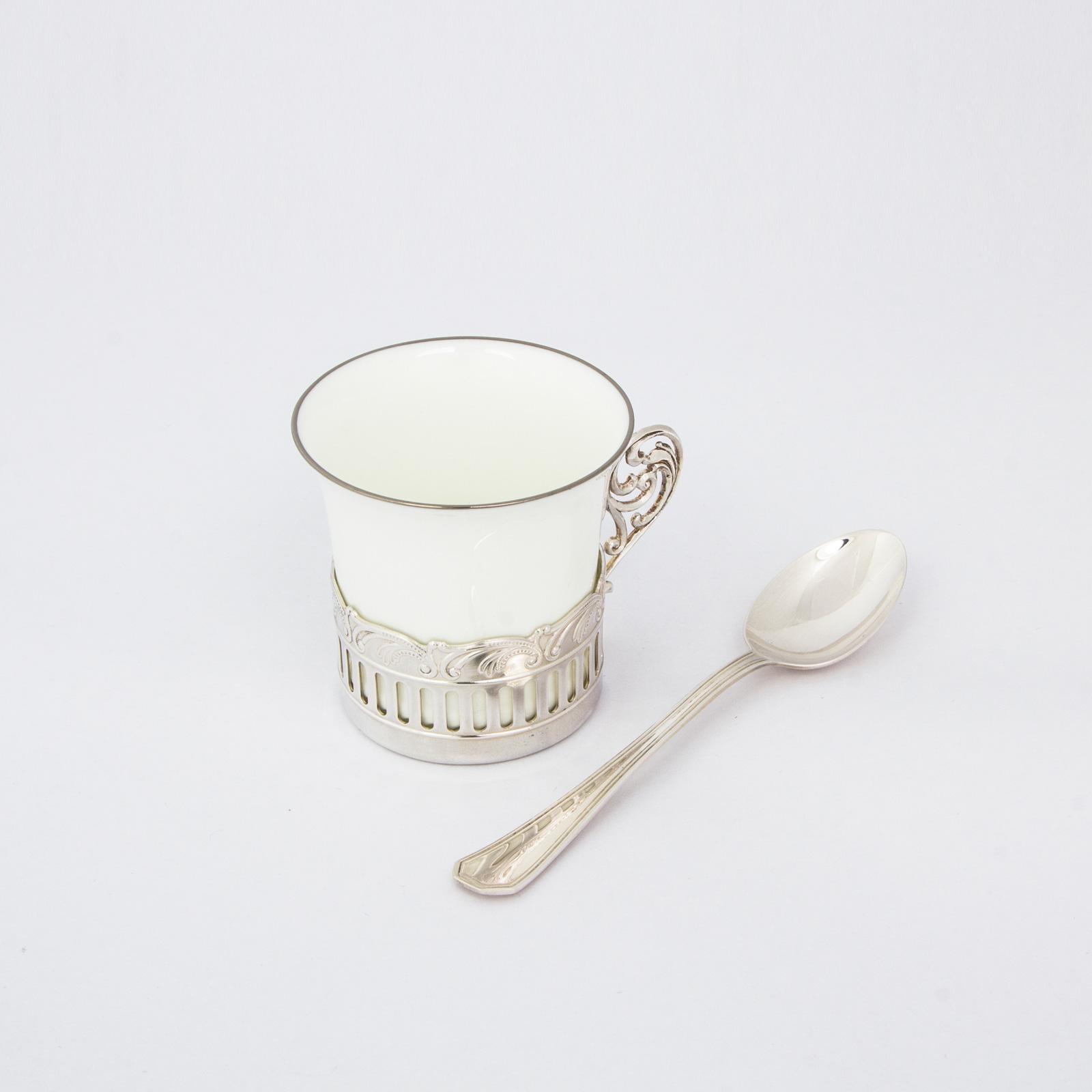Серебряная чашка кофейная «Богема» + ложка кофейная «Элегант»