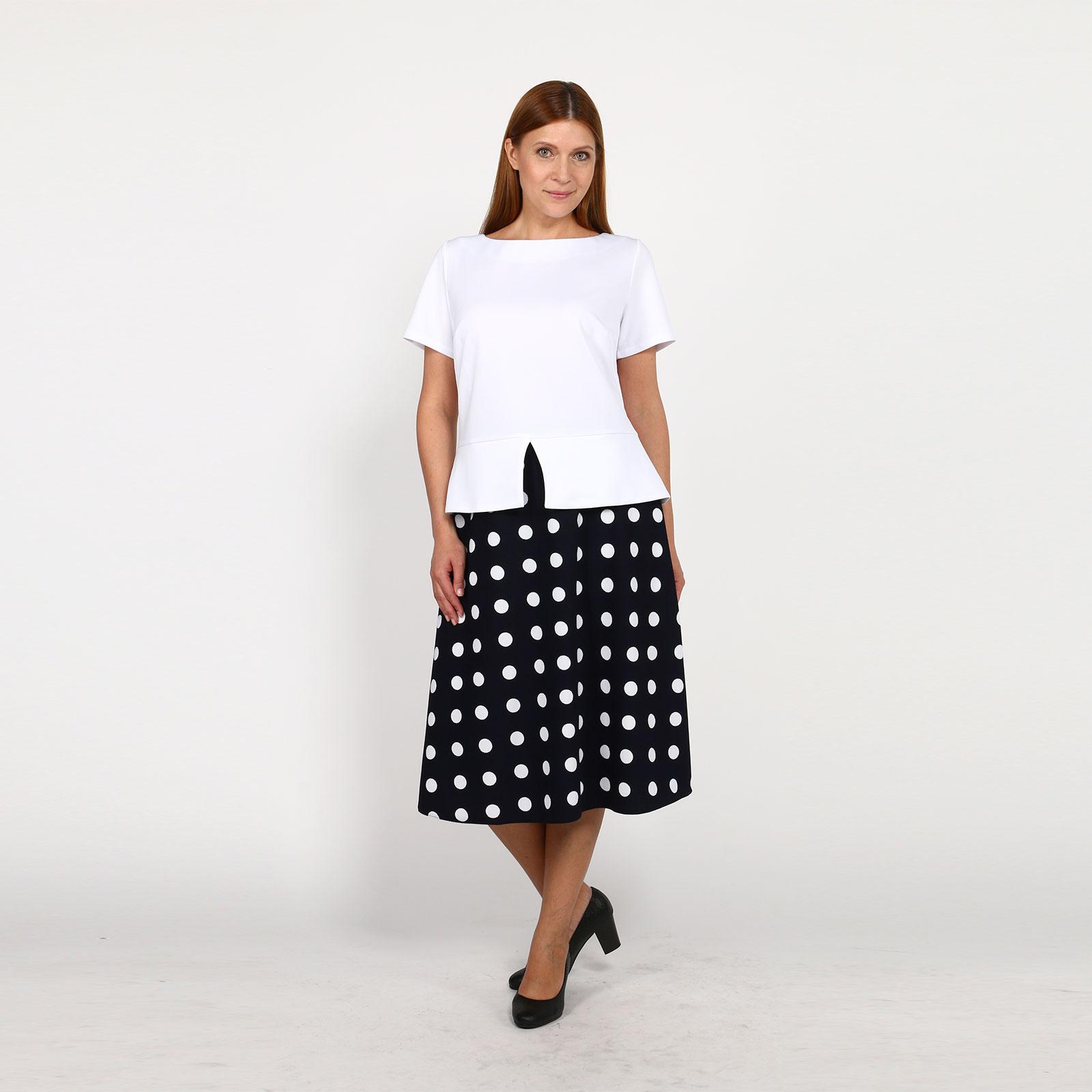 Костюм: блузка с баской и юбка в горох
