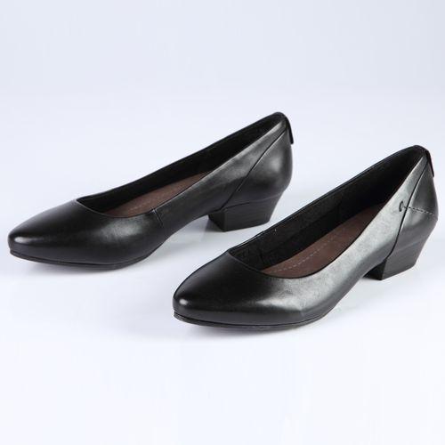Женские туфли из натуральной кожи на низком каблуке с закругленным мыском