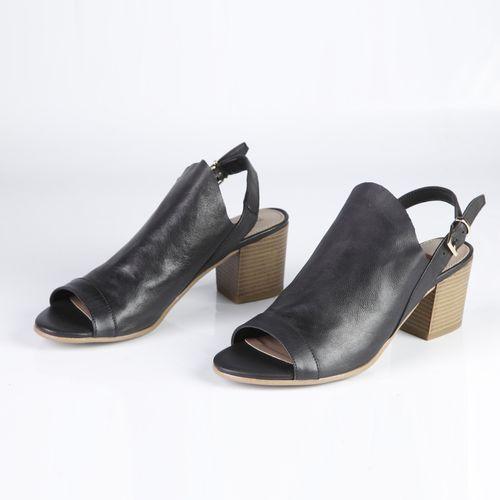 Босоножки женские из натуральной кожи на широком каблуке