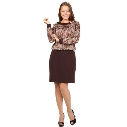 Платье с контрастным принтом «Осенние краски» бусы из янтаря осенние краски