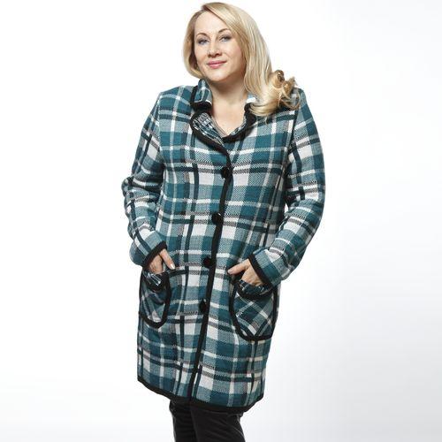 Пальто в крупную клетку с накладными карманами