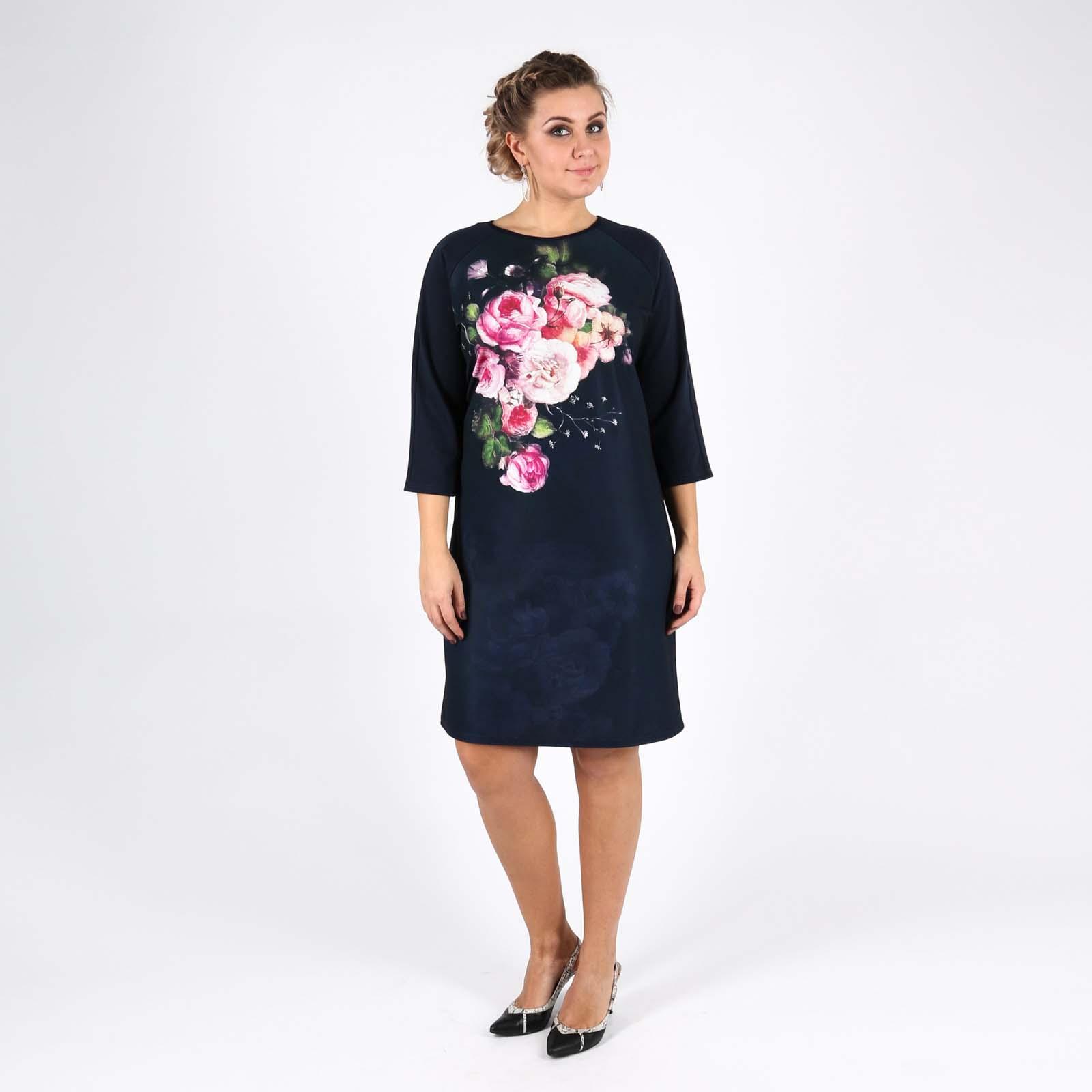 Платье с рукавом 3/4 и цветочным принтом
