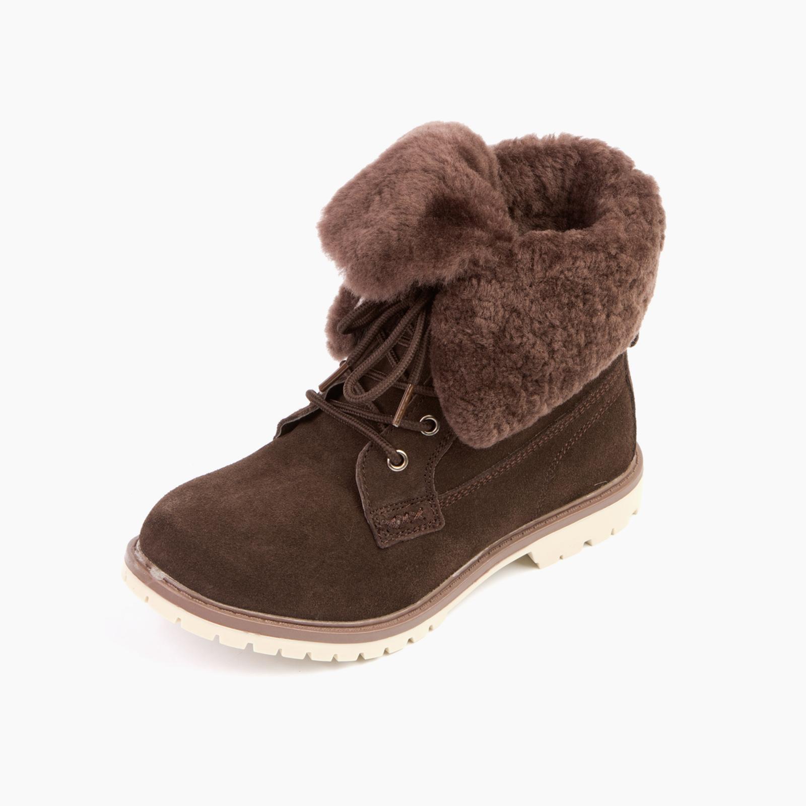 Удобные женские зимние ботинки с меховым отворотом