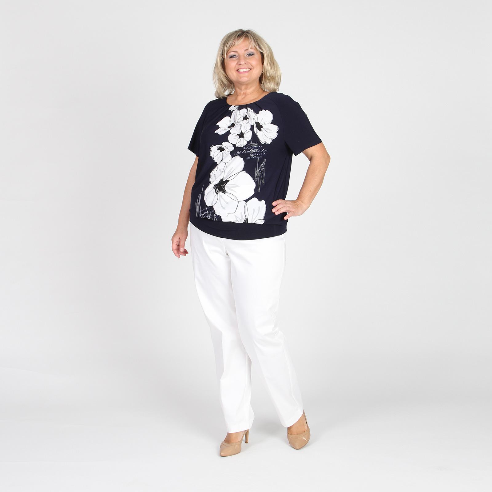 Блуза свободного кроя с широким манжетом по низу