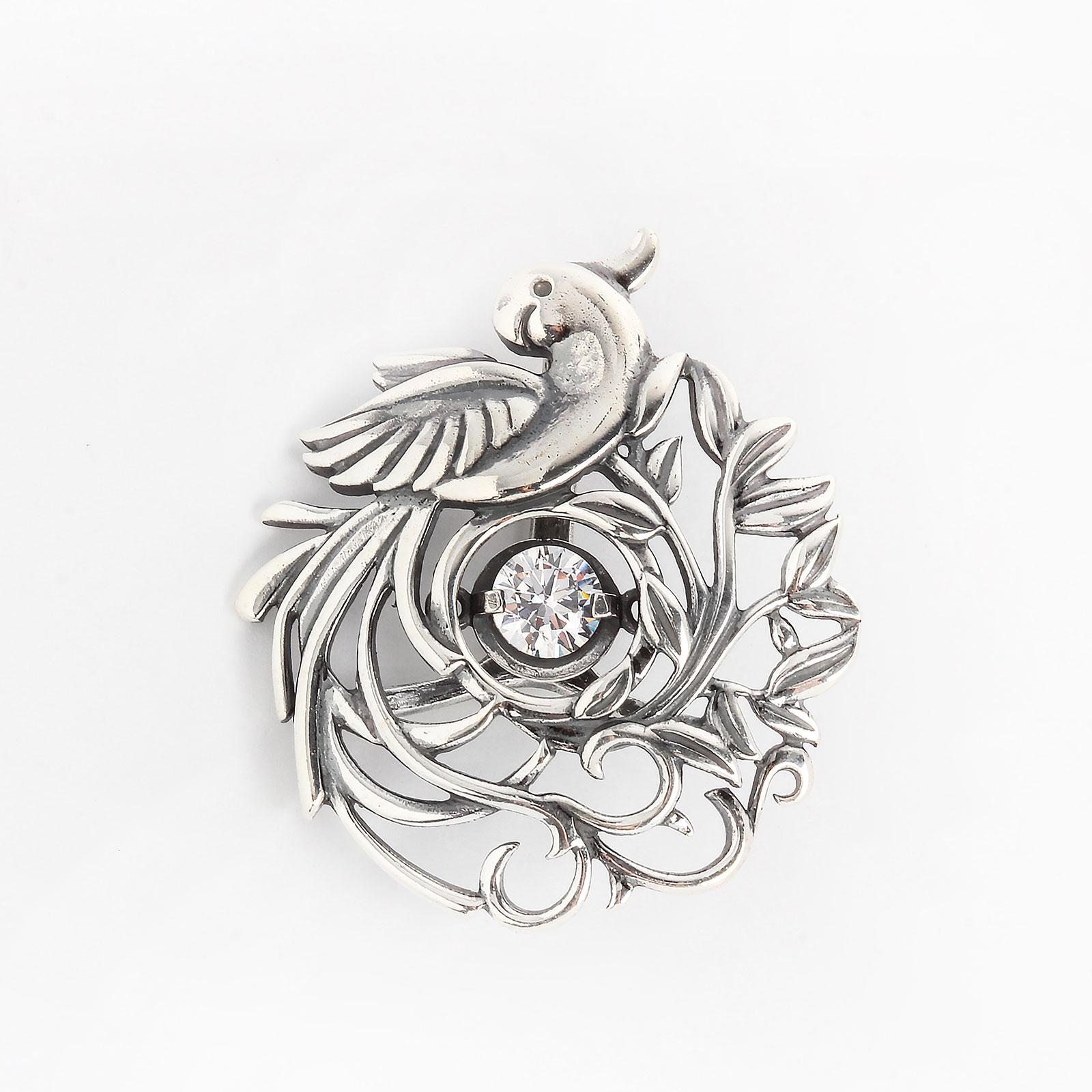 Серебряный кулон «Птица на ветвях»