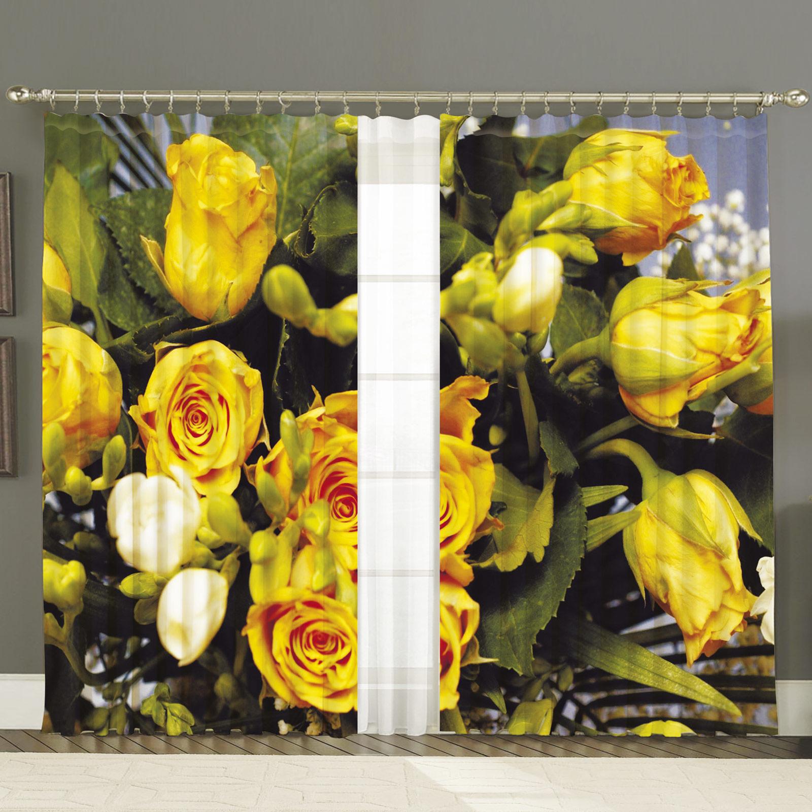 Комплект штор + тюль «Желтые розы»