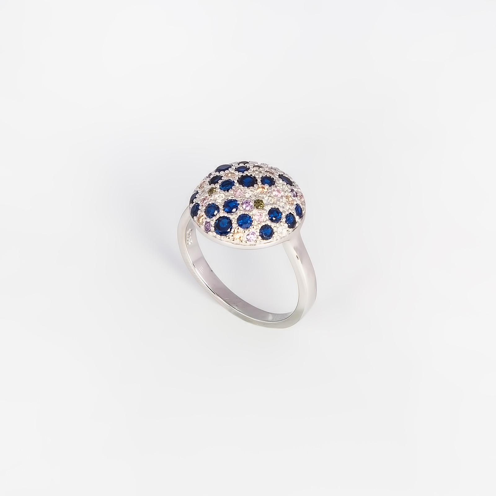 Серебряное кольцо «Многоцветие циркона»