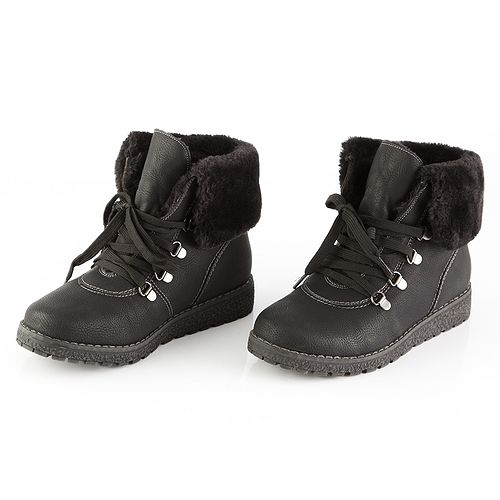 Ботинки женские с мехом на шнурках «Кеддо»