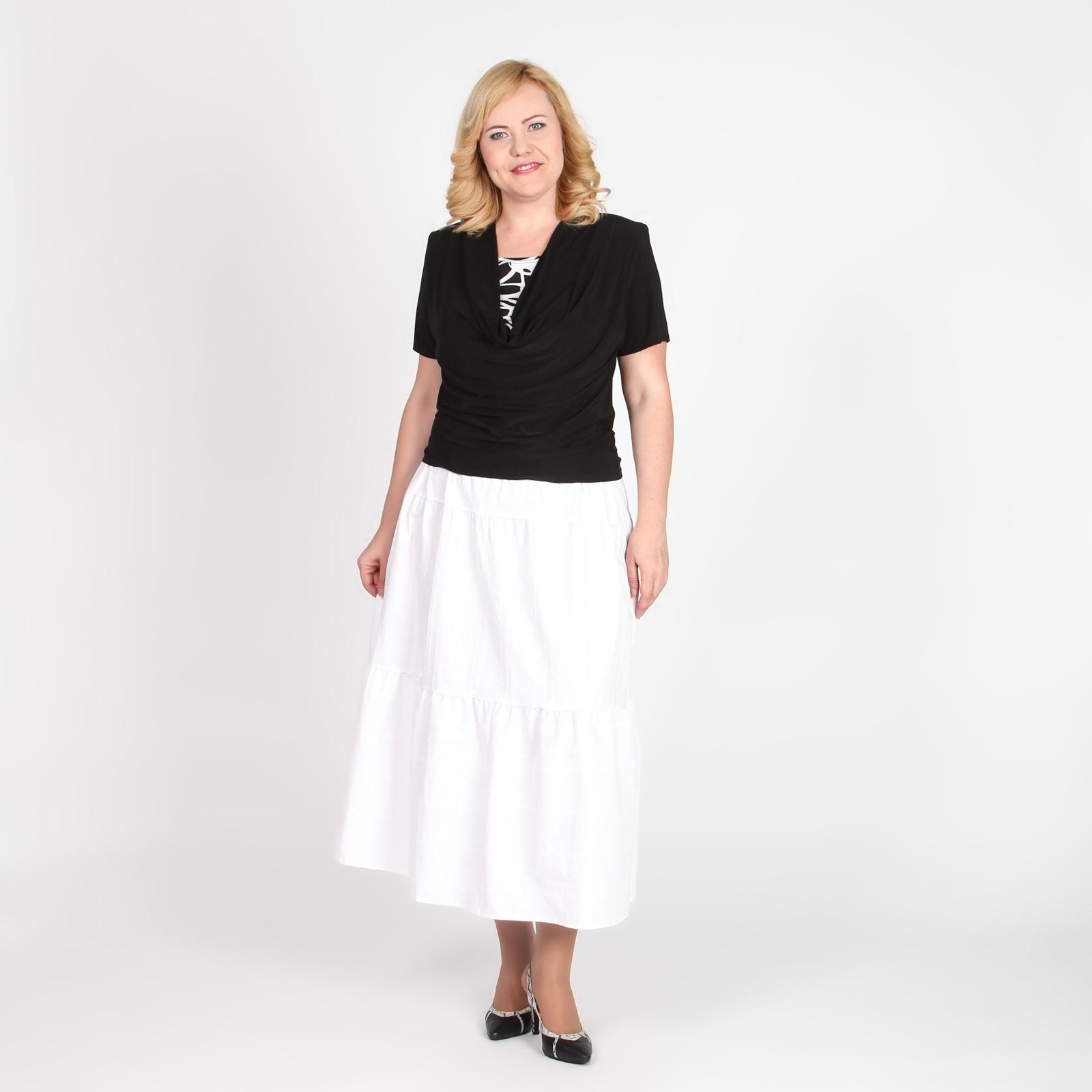 Блуза с коротким рукавом и воротником «качели»