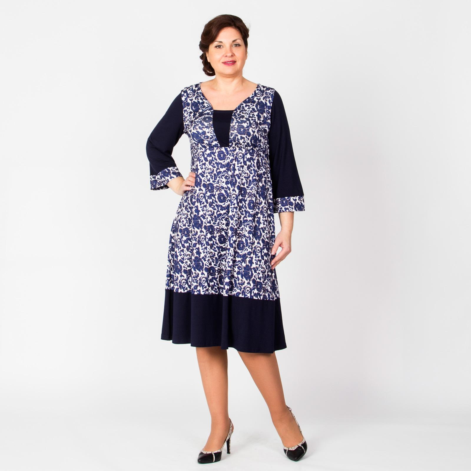Платье расклешенного кроя с принтом «Гжель»