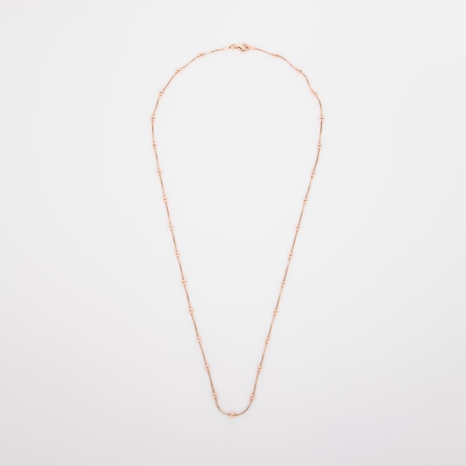 Серебряная цепь «Шнурок с шариками» с позолотой