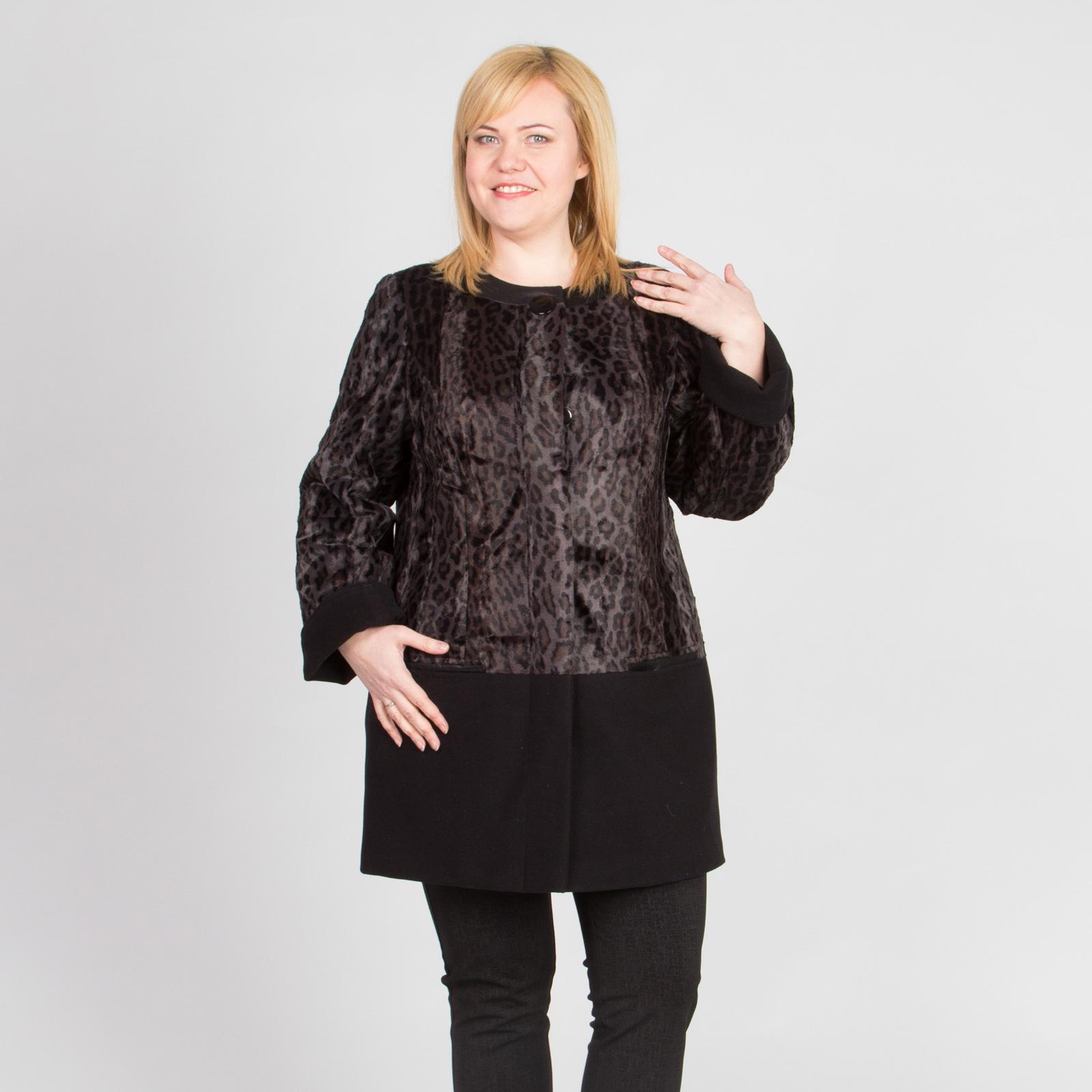 Пальто элегантного дизайна с леопардовым принтом