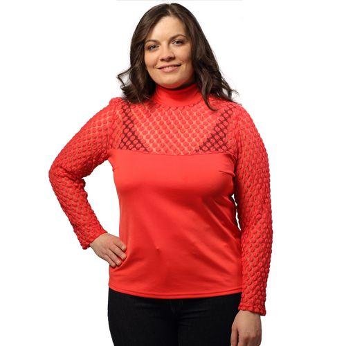 Блуза коралловая с гипюровыми рукавами