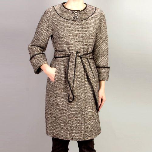 Шерстяное пальто из твида меланж
