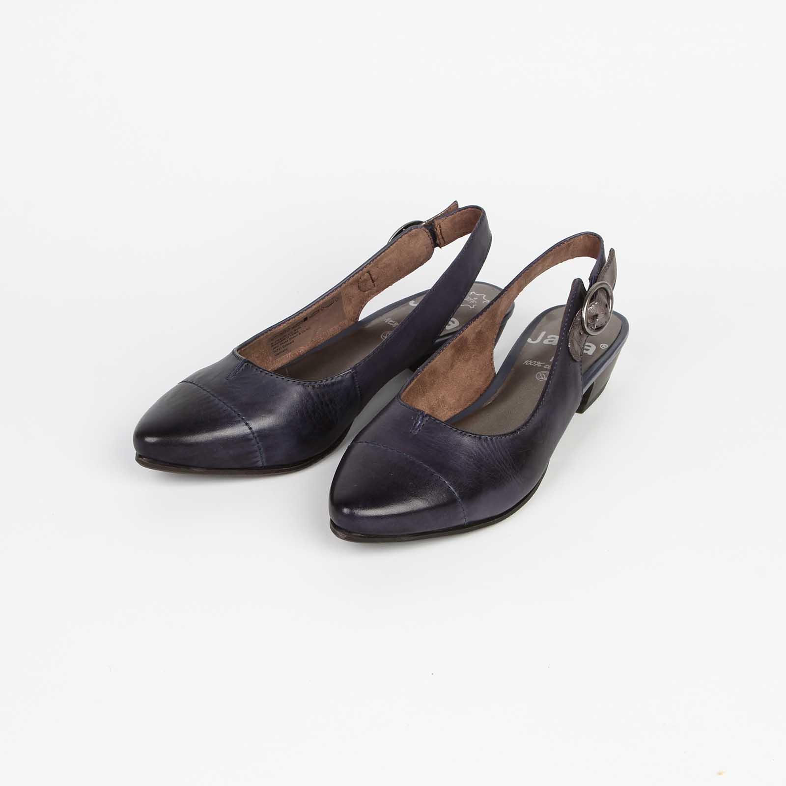 Туфли женские из натуральной кожи на удобном каблуке с регулируемым ремешком