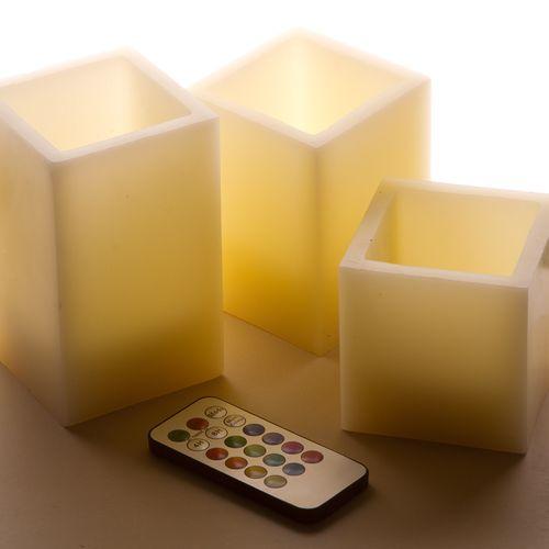 Набор из 3-х разноцветных светодиодных свечей