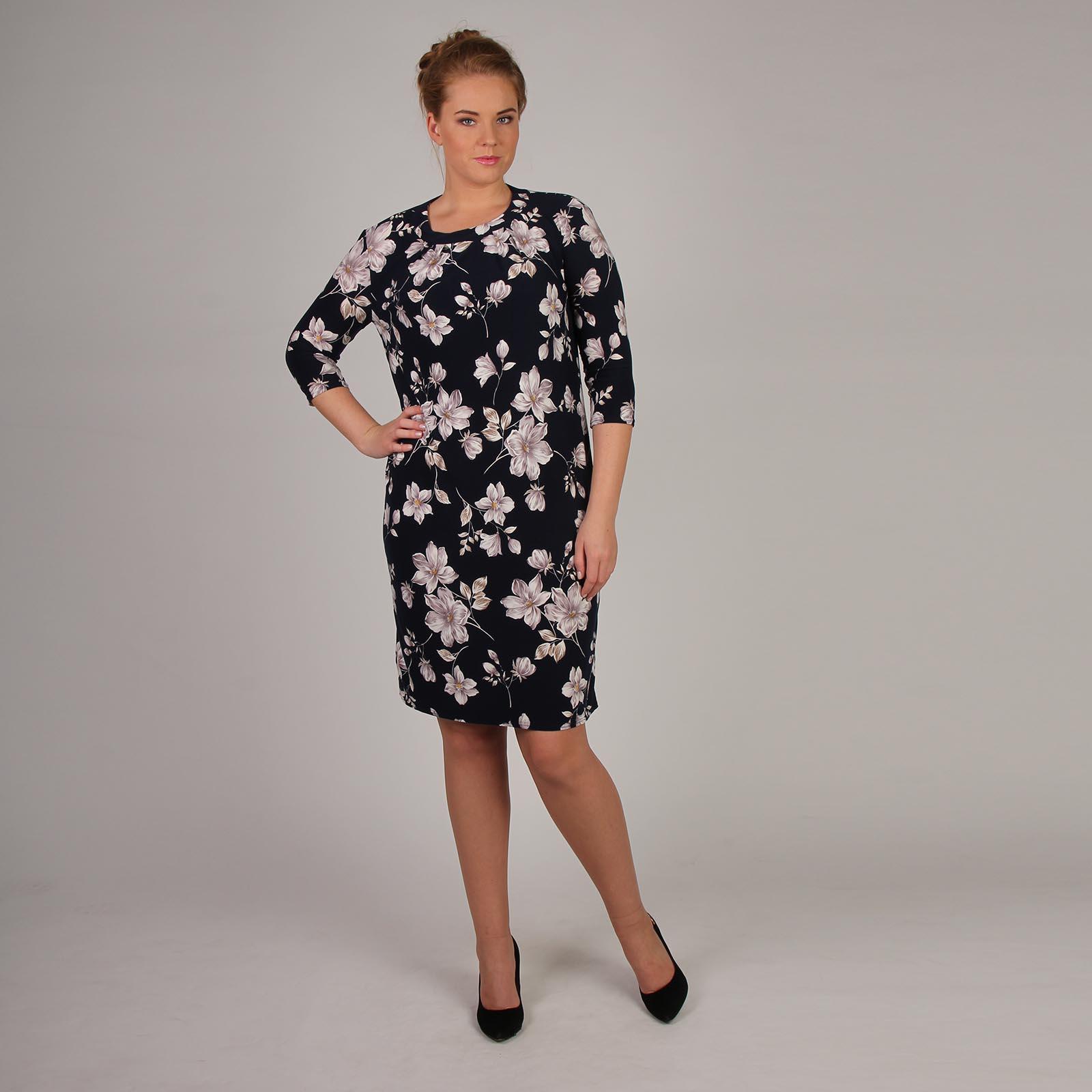 Платье прямого кроя с принтом «Осенние цветы»