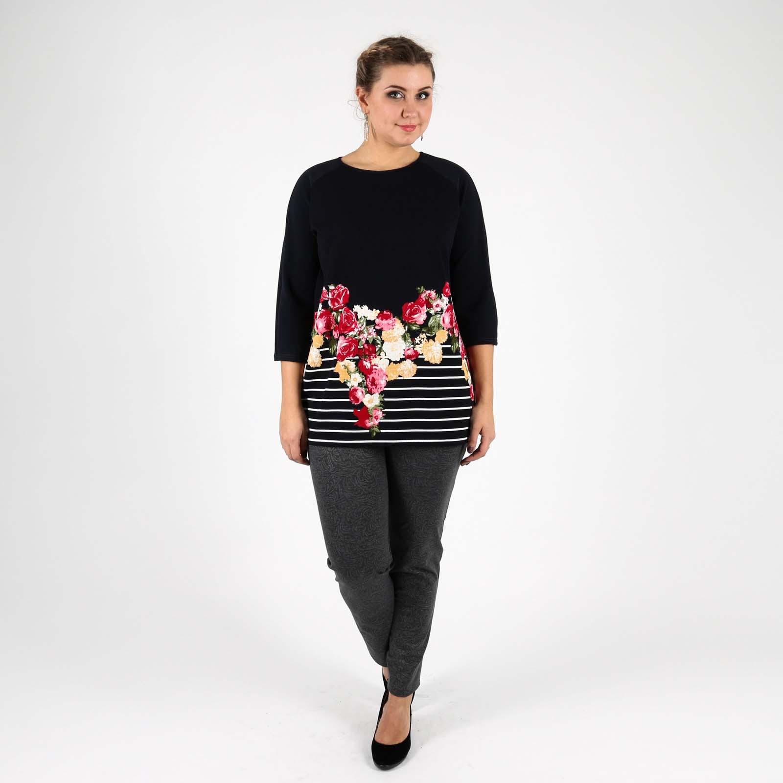 Блуза из комбинированной ткани с принтом